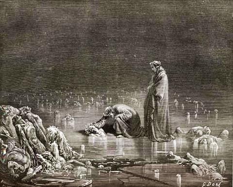 Gustave Doré, illustrazione per il Canto XXXII dell'Inferno (1868)