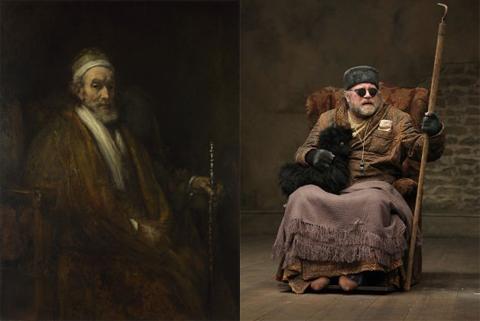 """Rembrandt, """"Ritratto di Jacob Trip"""" (1661) e Hamm (Owen Roe) in """"Finale di partita"""""""