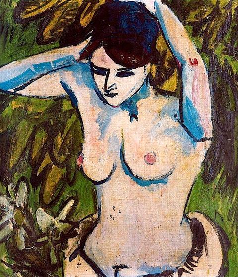 """Ernst Ludwig Kirchner, """"Nudo a mezza figura con braccia sollevate"""" (1910)"""