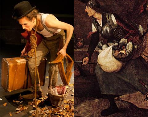 """Lucky (Peter Marshall) in """"Aspettando Godot"""" e """"Dulle Griet"""" di Pieter Bruegel il Vecchio (1562)"""