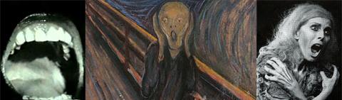 """Al centro: Edvard Munch, """"L'urlo"""" (1893). Ai lati Billie Whitelaw in """"Non io"""" e """"Passi"""""""